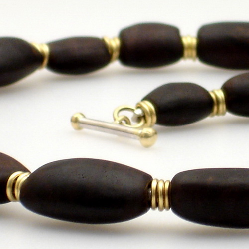African blackwood and gold necklace